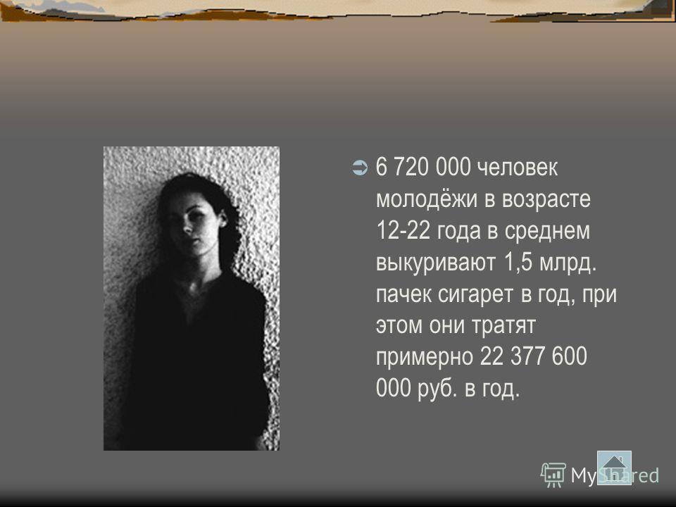 6 720 000 человек молодёжи в возрасте 12-22 года в среднем выкуривают 1,5 млрд. пачек сигарет в год, при этом они тратят примерно 22 377 600 000 руб. в год.