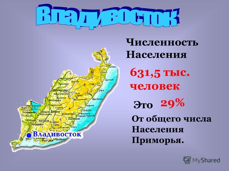 Численность Населения 631,5 тыс. человек Это 29% От общего числа Населения Приморья.