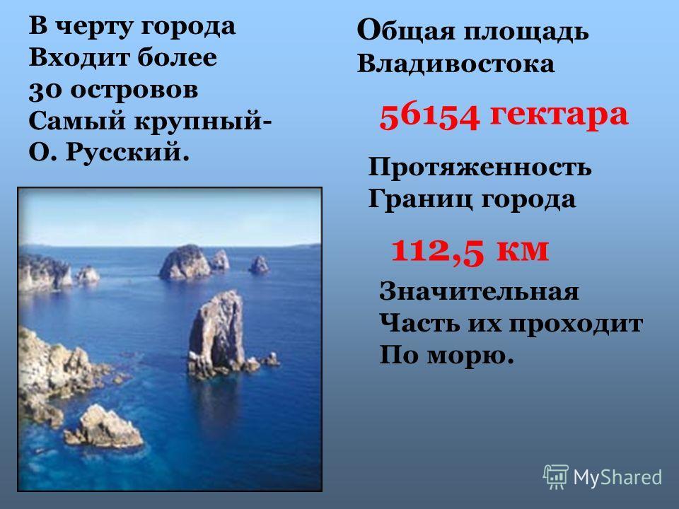 О бщая площадь Владивостока 56154 гектара Протяженность Границ города 112,5 км Значительная Часть их проходит По морю. В черту города Входит более 30 островов Самый крупный- О. Русский.