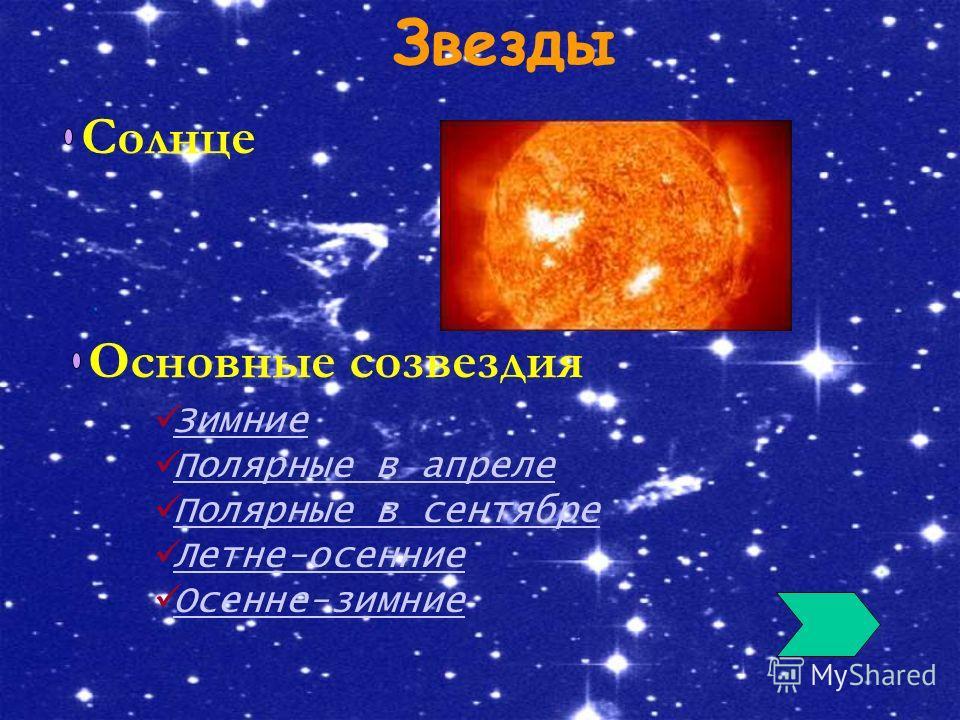 Звезды Солнце Основные созвездия Зимние Полярные в апреле Полярные в сентябре Летне-осенние Осенне-зимние