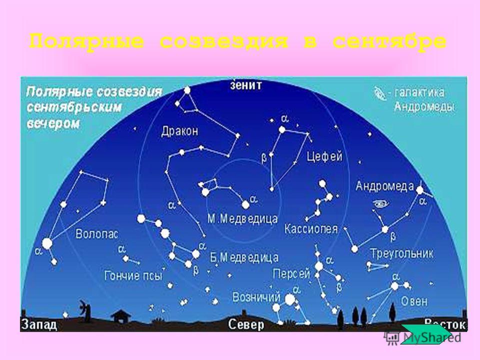 Полярные созвездия в сентябре