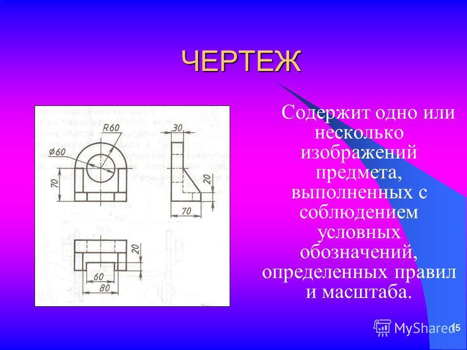 15 ЧЕРТЕЖ Содержит одно или несколько изображений предмета, выполненных с соблюдением условных обозначений, определенных правил и масштаба.