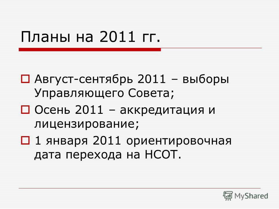 Планы на 2011 гг. Август-сентябрь 2011 – выборы Управляющего Совета; Осень 2011 – аккредитация и лицензирование; 1 января 2011 ориентировочная дата перехода на НСОТ.