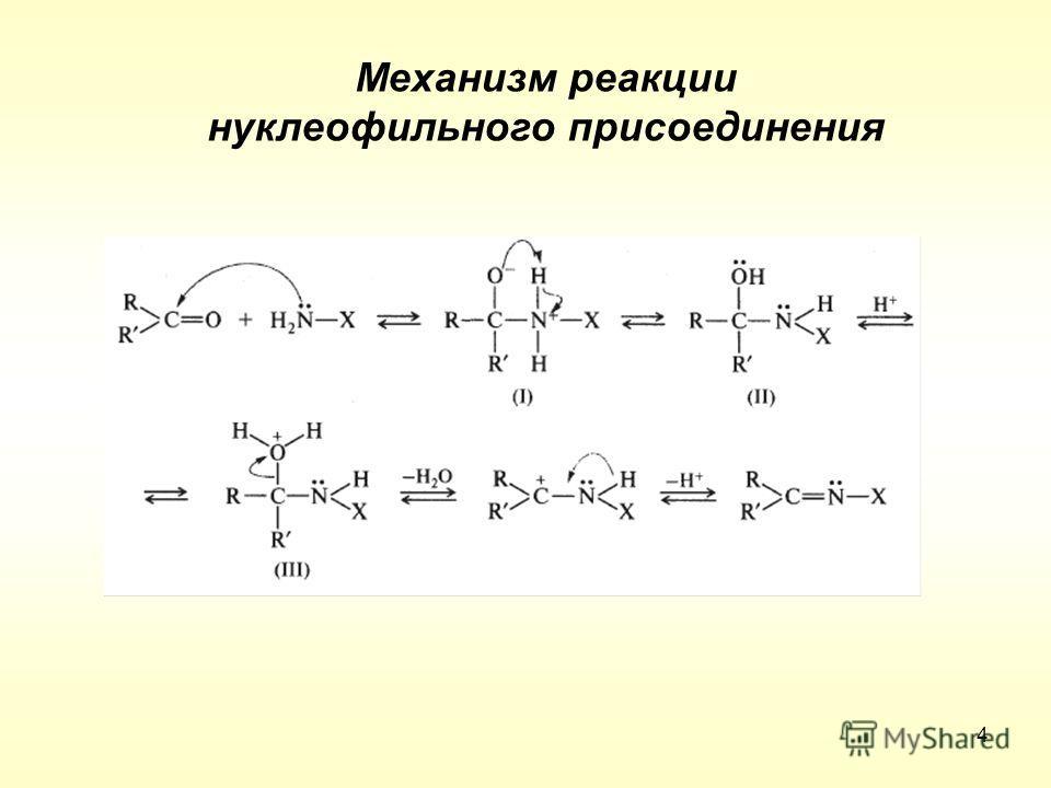Механизм реакции нуклеофильного присоединения 4