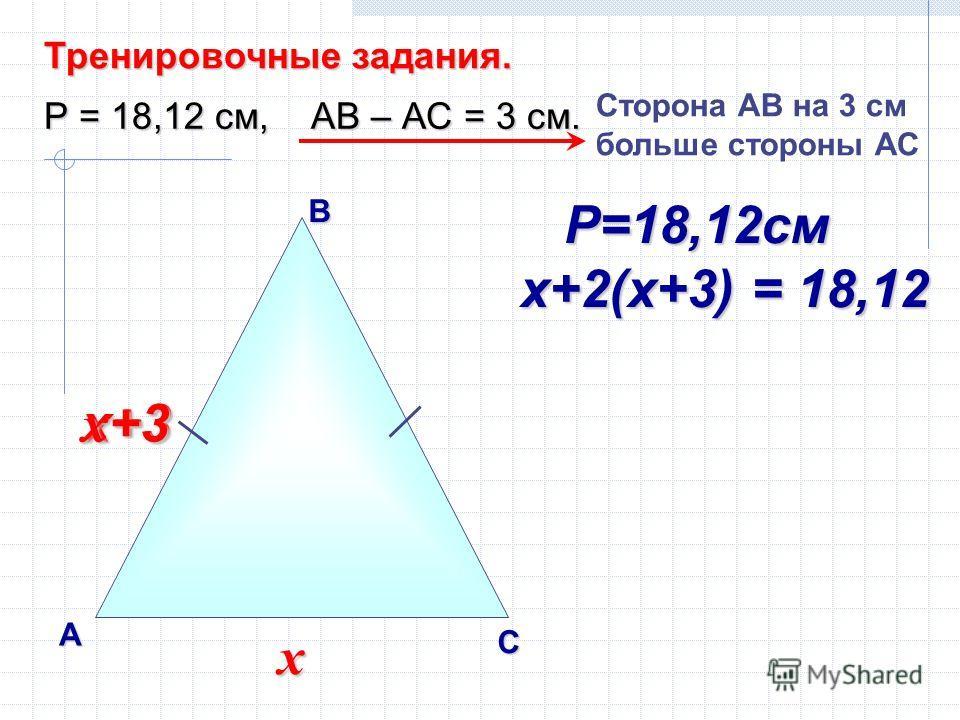 В А С Тренировочные задания. Р = 18,12 см, АВ – АС = 3 см. Сторона AВ на 3 см больше стороны АС х х+3 х +3 Р=18,12см Р=18,12см х+2(х+3) = 18,12