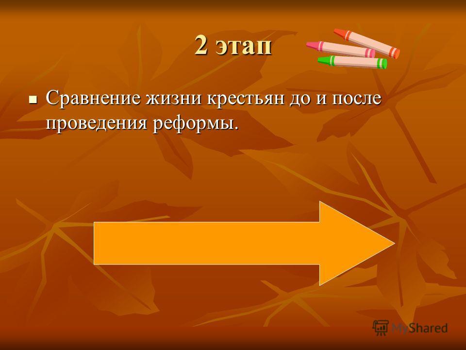 2 этап Сравнение жизни крестьян до и после проведения реформы. Сравнение жизни крестьян до и после проведения реформы.