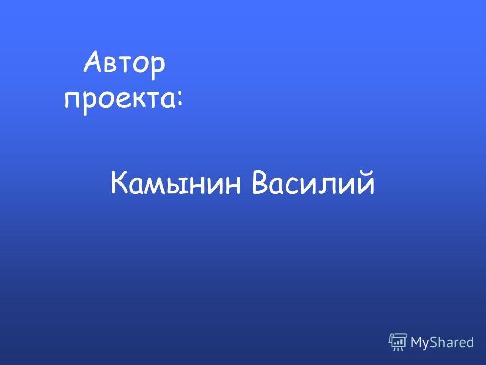 Автор проекта: Камынин Василий