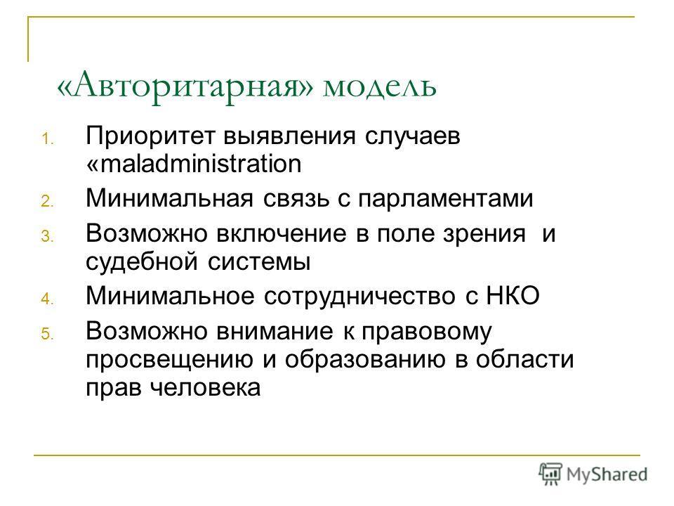 Поставторитарная модель Прези-дент Парламент Структуры исполнительной власти Суды Омбудсман (Уполномоченный по ПЧ) ??? НКОО Народ Образова-ние по ПЧ Прокуратура
