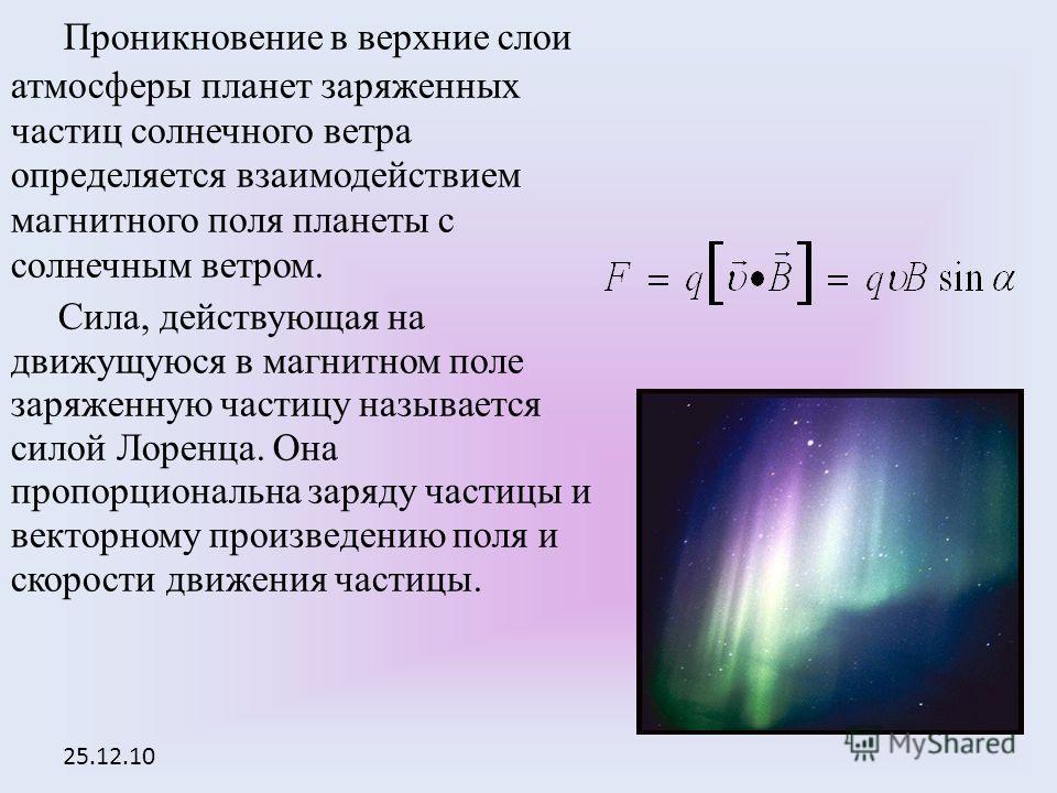 25.12.10 Проникновение в верхние слои атмосферы планет заряженных частиц солнечного ветра определяется взаимодействием магнитного поля планеты с солнечным ветром. Сила, действующая на движущуюся в магнитном поле заряженную частицу называется силой Ло