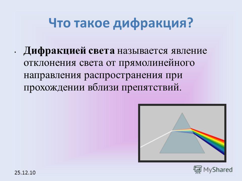 25.12.10 Что такое дифракция? Дифракцией света называется явление отклонения света от прямолинейного направления распространения при прохождении вблизи препятствий.