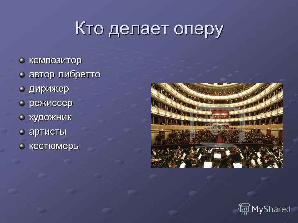 Кто делает оперу композитор автор либретто дирижеррежиссерхудожникартистыкостюмеры