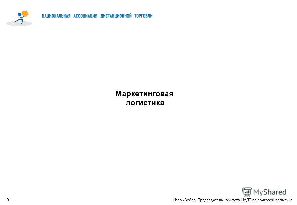- 8 -Игорь Зубов, Председатель комитета НАДТ по почтовой логистике Доля «cross-border» Е-Commerce в странах европейского сообщества * (EU27 - 29%) * - оценка EMOTA (European e-Commerce and Mail Order Trade Association)
