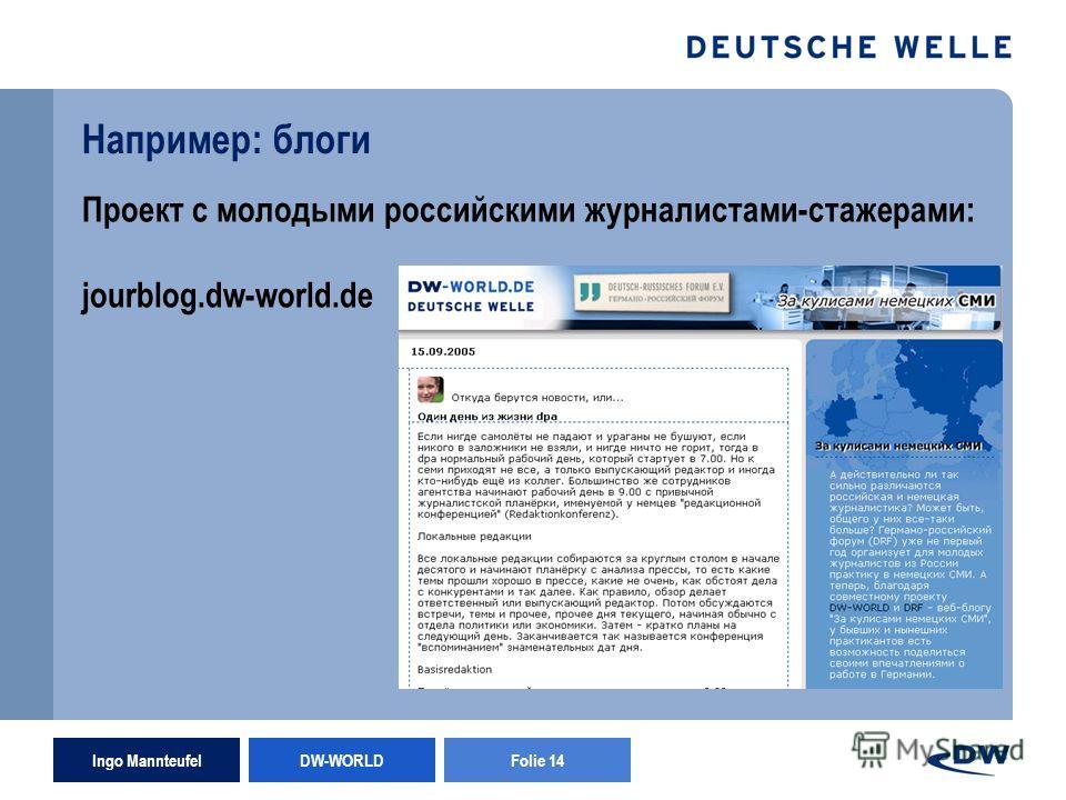 Ingo Mannteufel DW-WORLD Folie 14 Например: блоги Проект с молодыми российскими журналистами-стажерами: jourblog.dw-world.de