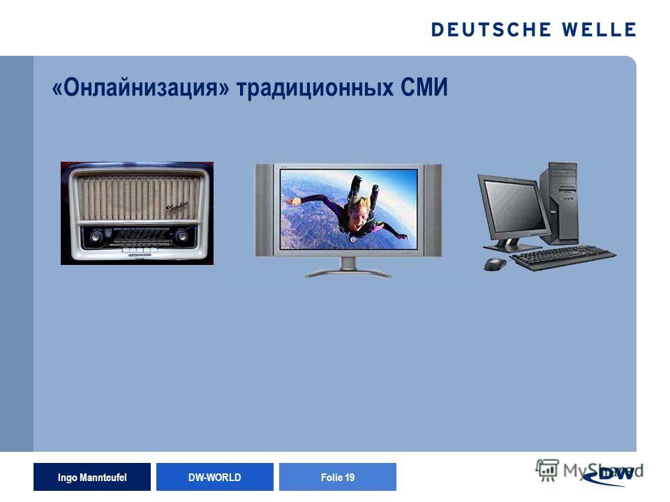 Ingo Mannteufel DW-WORLD Folie 19 «Онлайнизация» традиционных СМИ