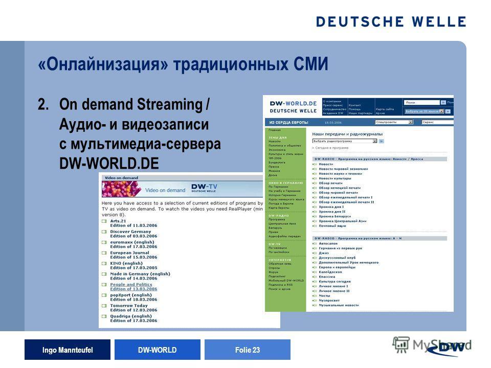 Ingo Mannteufel DW-WORLD Folie 23 «Онлайнизация» традиционных СМИ 2.On demand Streaming / Аудио- и видеозаписи с мультимедиа-сервера DW-WORLD.DE