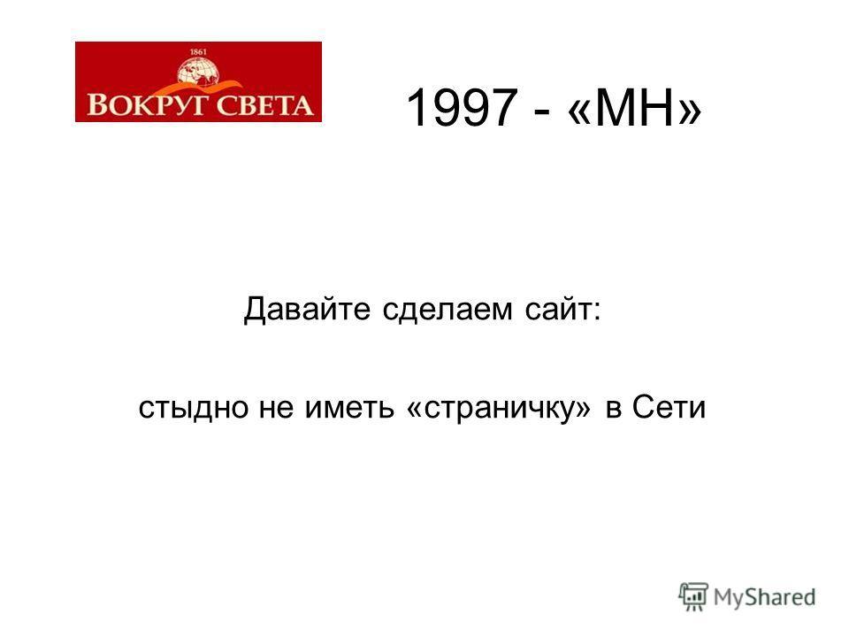 1997 - «МН» Давайте сделаем сайт: стыдно не иметь «страничку» в Сети