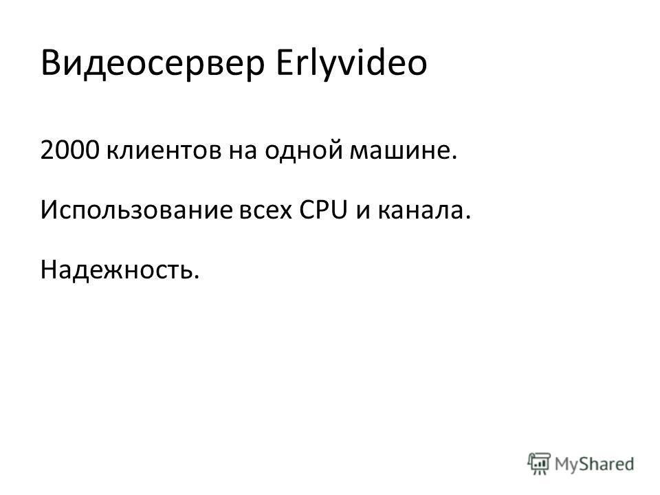 Видеосервер Erlyvideo 2000 клиентов на одной машине. Использование всех CPU и канала. Надежность.