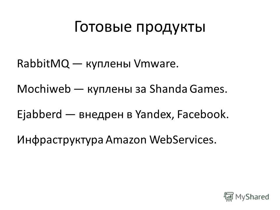 Готовые продукты RabbitMQ куплены Vmware. Mochiweb куплены за Shanda Games. Ejabberd внедрен в Yandex, Facebook. Инфраструктура Amazon WebServices.