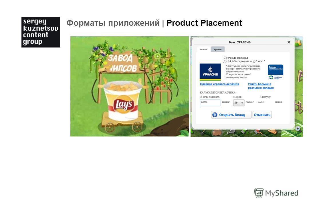 Форматы приложений | Product Placement