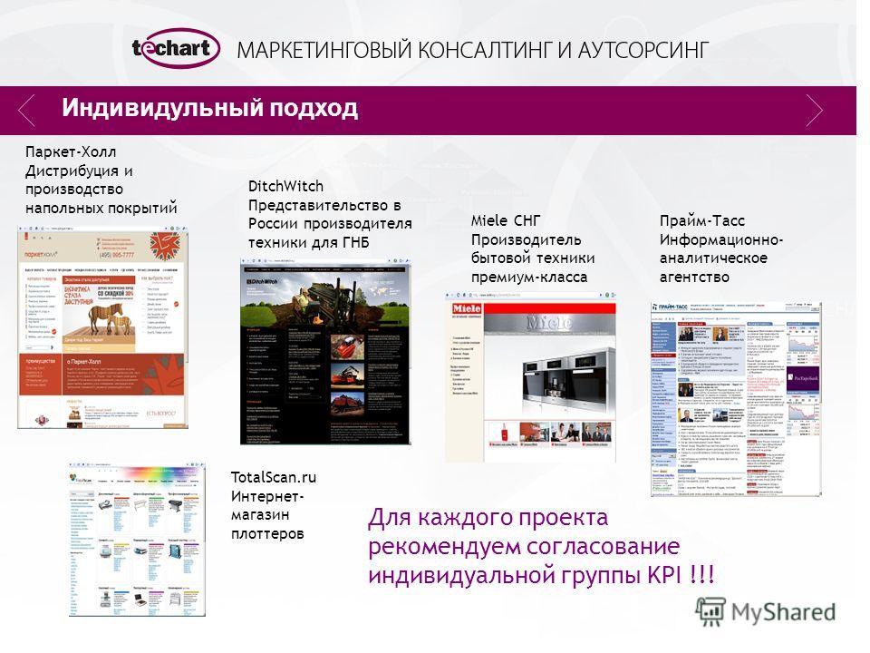 Индивидульный подход TotalScan.ru Интернет- магазин плоттеров DitchWitch Представительство в России производителя техники для ГНБ Miele СНГ Производитель бытовой техники премиум-класса Прайм-Тасс Информационно- аналитическое агентство Для каждого про