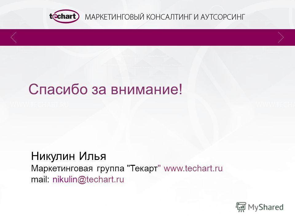 Спасибо за внимание! Никулин Илья Маркетинговая группа Текарт www.techart.ru mail: nikulin@techart.ru