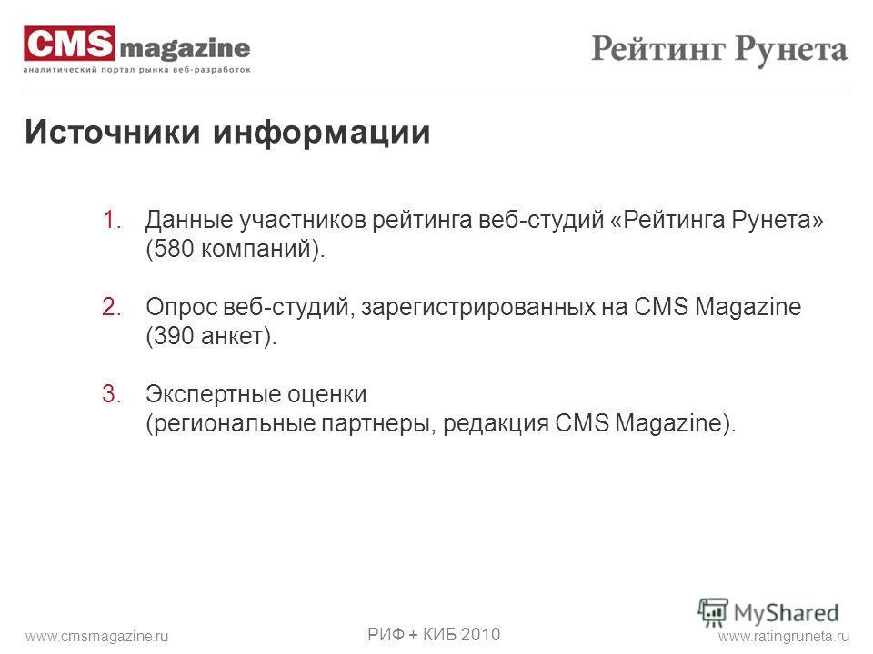 Источники информации 1.Данные участников рейтинга веб-студий «Рейтинга Рунета» (580 компаний). 2.Опрос веб-студий, зарегистрированных на CMS Magazine (390 анкет). 3.Экспертные оценки (региональные партнеры, редакция CMS Magazine). РИФ + КИБ 2010 www.