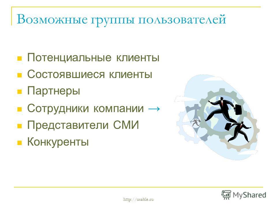 http://usable.ru Возможные группы пользователей Потенциальные клиенты Состоявшиеся клиенты Партнеры Сотрудники компании Представители СМИ Конкуренты
