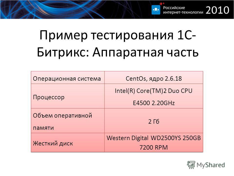 Пример тестирования 1С- Битрикс: Аппаратная часть