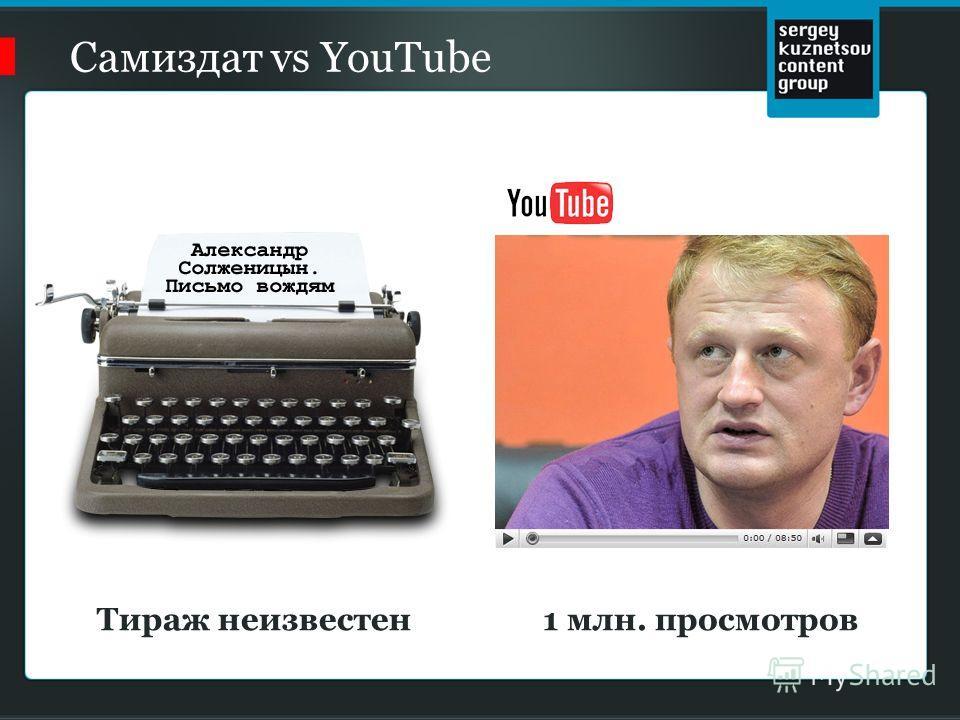 Самиздат vs YouTube 1 млн. просмотровТираж неизвестен