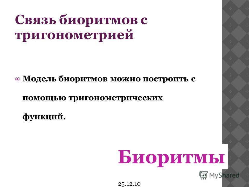 25.12.10 Связь биоритмов с тригонометрией Модель биоритмов можно построить с помощью тригонометрических функций. Биоритмы