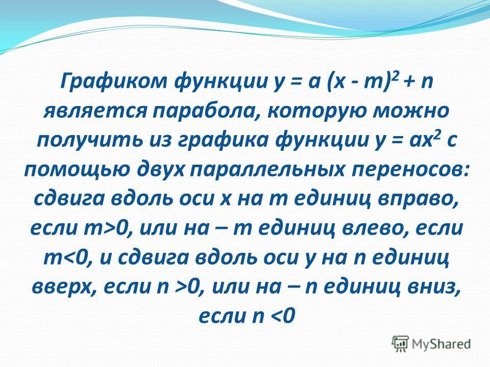 y x D(у)=R; E(у)=(-;0]; М(-5;0)- вершина параболы; Х=-5 – ось симметрии