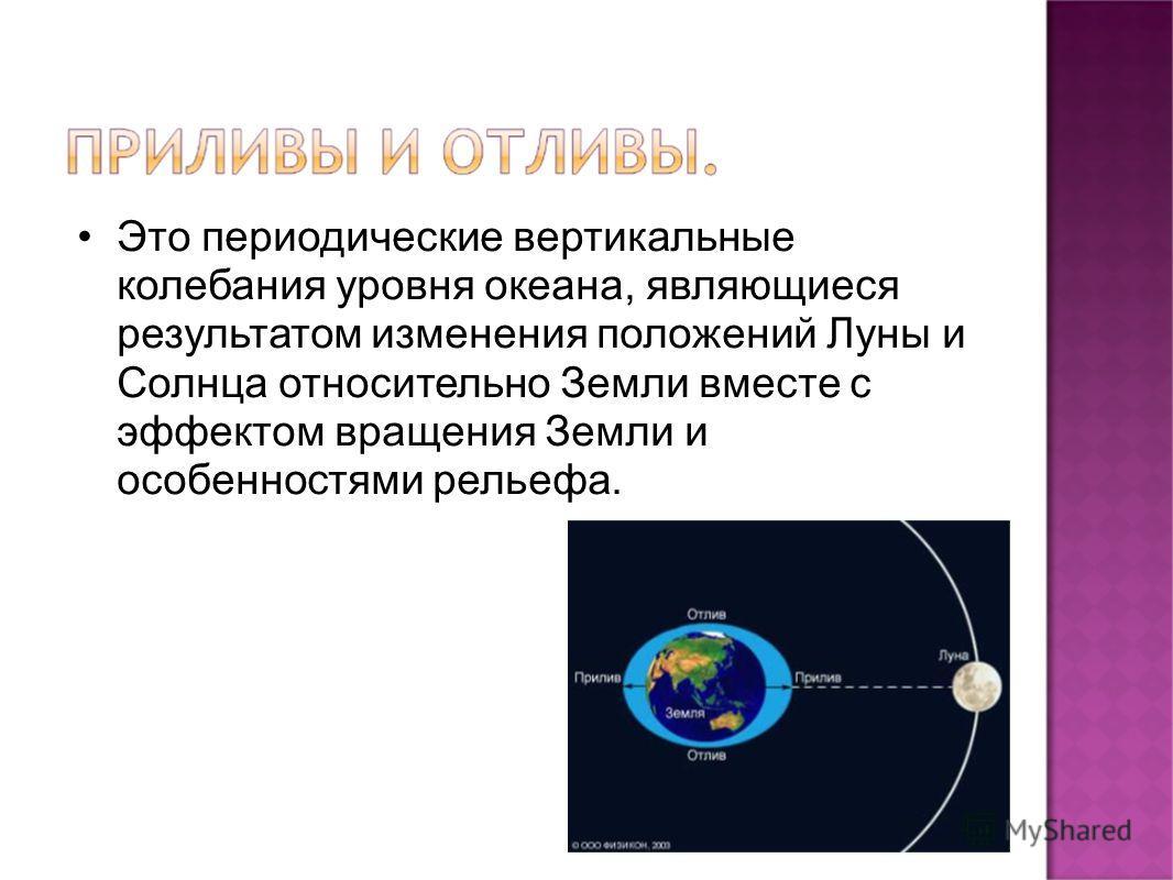 Это периодические вертикальные колебания уровня океана, являющиеся результатом изменения положений Луны и Солнца относительно Земли вместе с эффектом вращения Земли и особенностями рельефа.