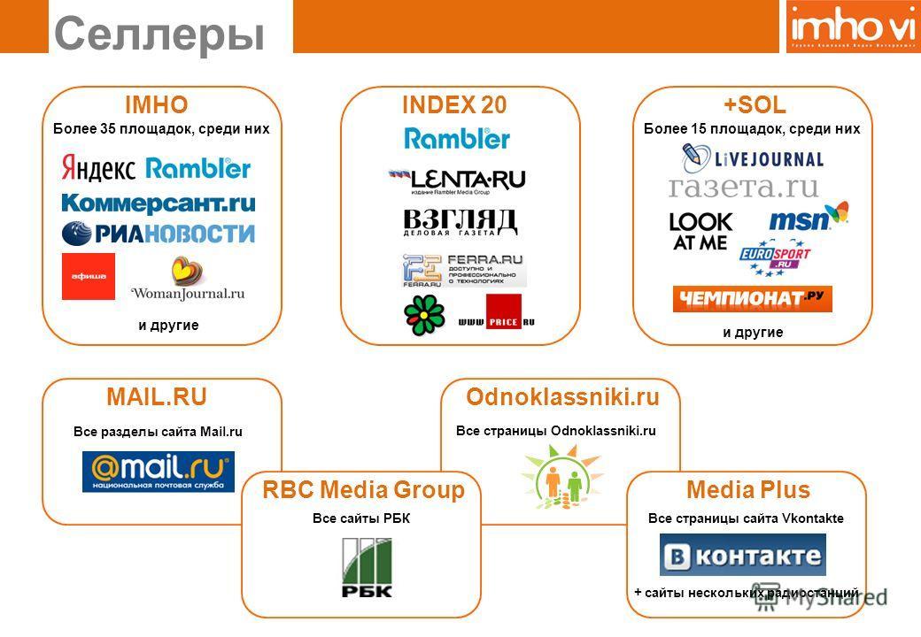 Odnoklassniki.ru Селлеры IMHO Более 35 площадок, среди них MAIL.RU Все разделы сайта Mail.ru RBC Media Group Все сайты РБК +SOL Media Plus Все страницы сайта Vkontakte + сайты нескольких радиостанций INDEX 20 и другие Более 15 площадок, среди них и д