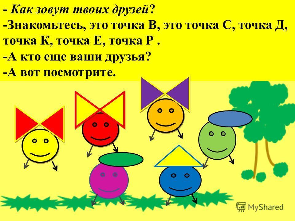 - Как зовут твоих друзей? -Знакомьтесь, это точка В, это точка С, точка Д, точка К, точка Е, точка Р. -А кто еще ваши друзья? -А вот посмотрите.