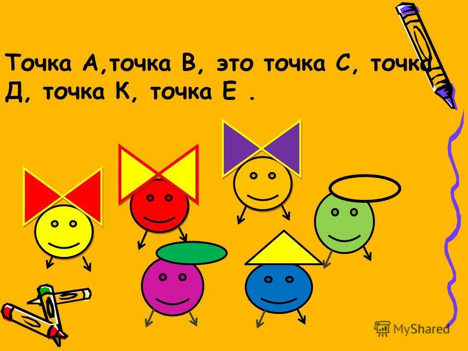 Точка А,точка В, это точка С, точка Д, точка К, точка Е.