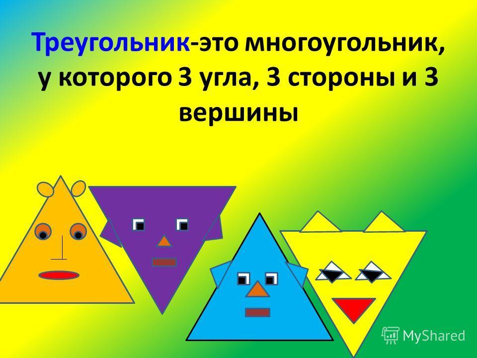 Треугольник-это многоугольник, у которого 3 угла, 3 стороны и 3 вершины
