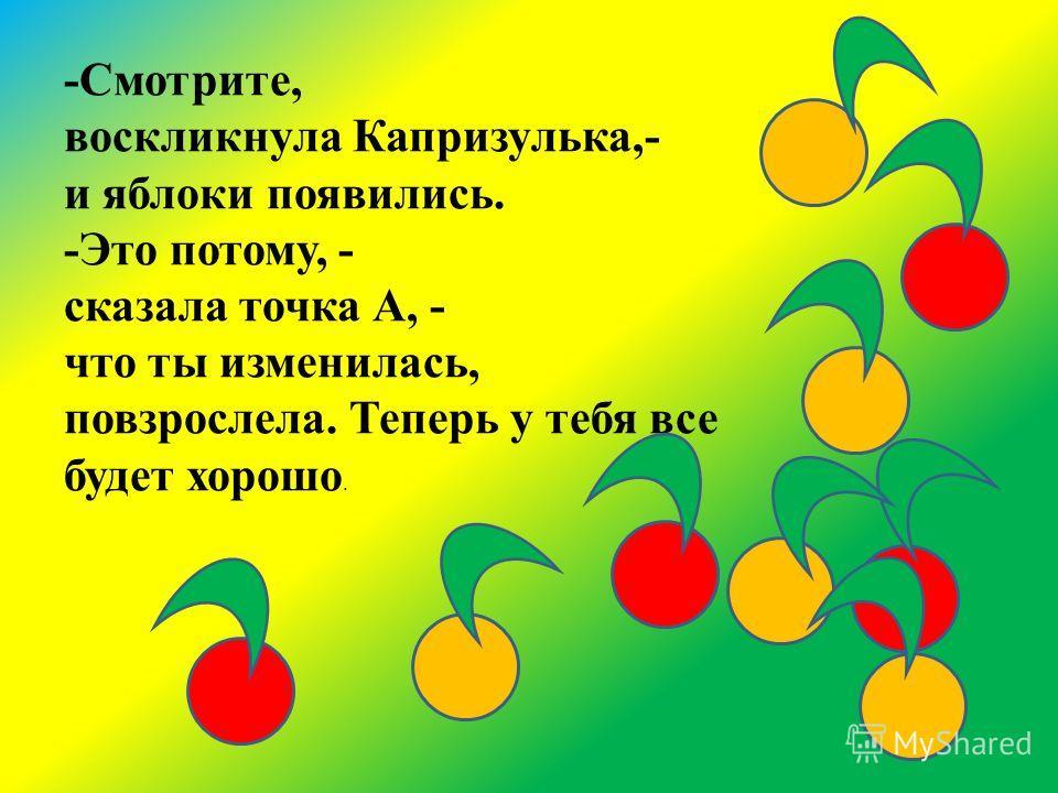 -Смотрите, воскликнула Капризулька,- и яблоки появились. -Это потому, - сказала точка А, - что ты изменилась, повзрослела. Теперь у тебя все будет хорошо.