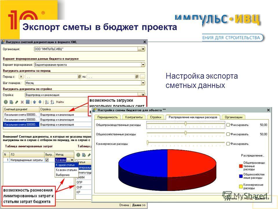 Экспорт сметы в бюджет проекта Настройка экспорта сметных данных