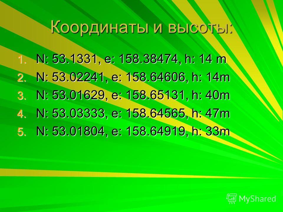 Координаты и высоты: 1. N: 53.1331, e: 158.38474, h: 14 m 2. N: 53.02241, e: 158.64606, h: 14m 3. N: 53.01629, e: 158.65131, h: 40m 4. N: 53.03333, e: 158.64565, h: 47m 5. N: 53.01804, e: 158.64919, h: 33m