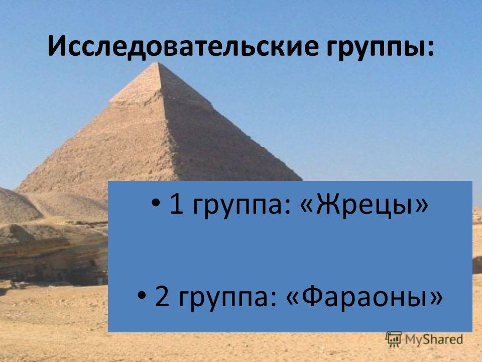 Исследовательские группы: 1 группа: «Жрецы» 2 группа: «Фараоны»