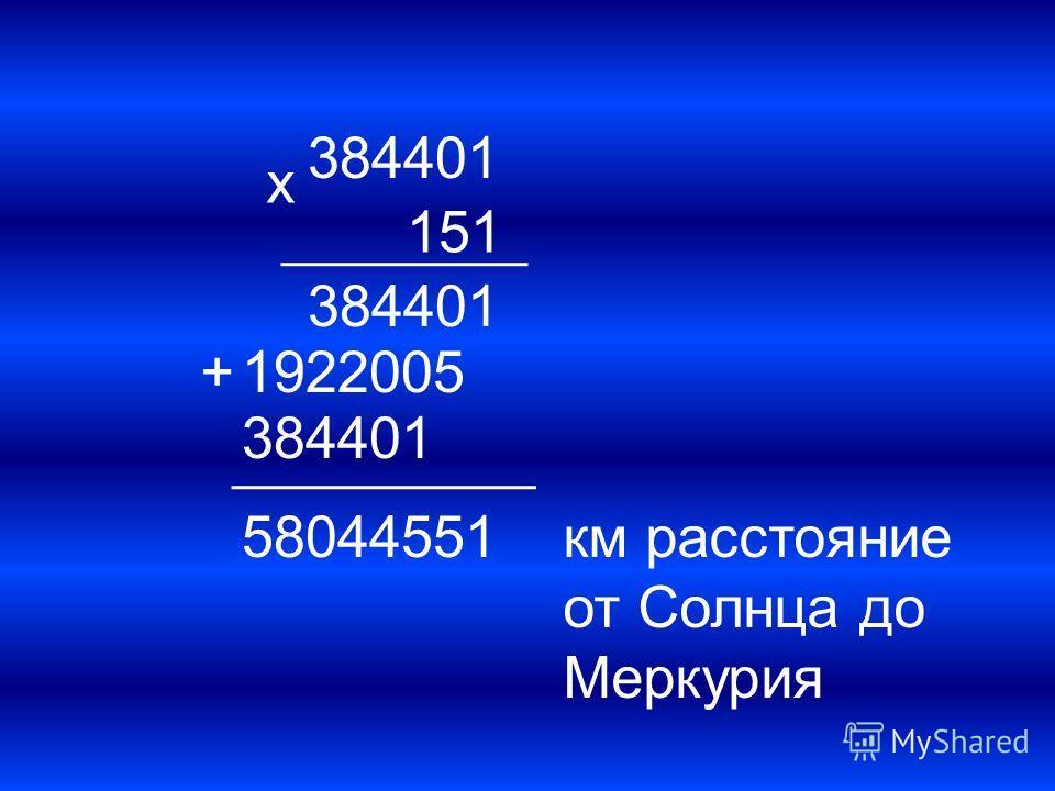 384401 х 151 384401 1922005 384401 + 58044551км расстояние от Солнца до Меркурия