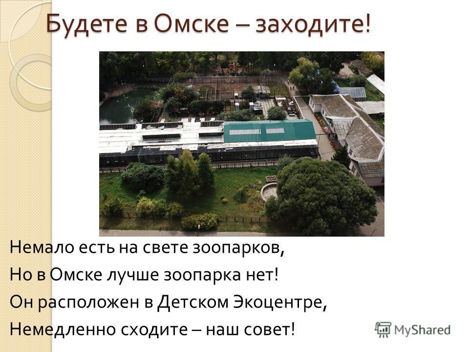 Будете в Омске – заходите ! Немало есть на свете зоопарков, Но в Омске лучше зоопарка нет ! Он расположен в Детском Экоцентре, Немедленно сходите – наш совет !