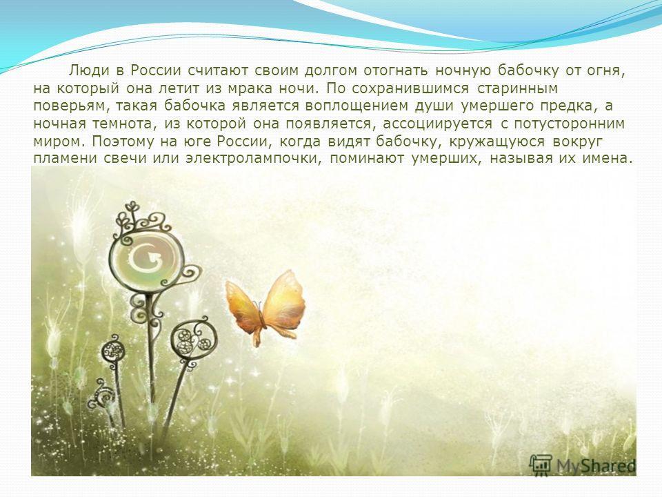 Люди в России считают своим долгом отогнать ночную бабочку от огня, на который она летит из мрака ночи. По сохранившимся старинным поверьям, такая бабочка является воплощением души умершего предка, а ночная темнота, из которой она появляется, ассоции