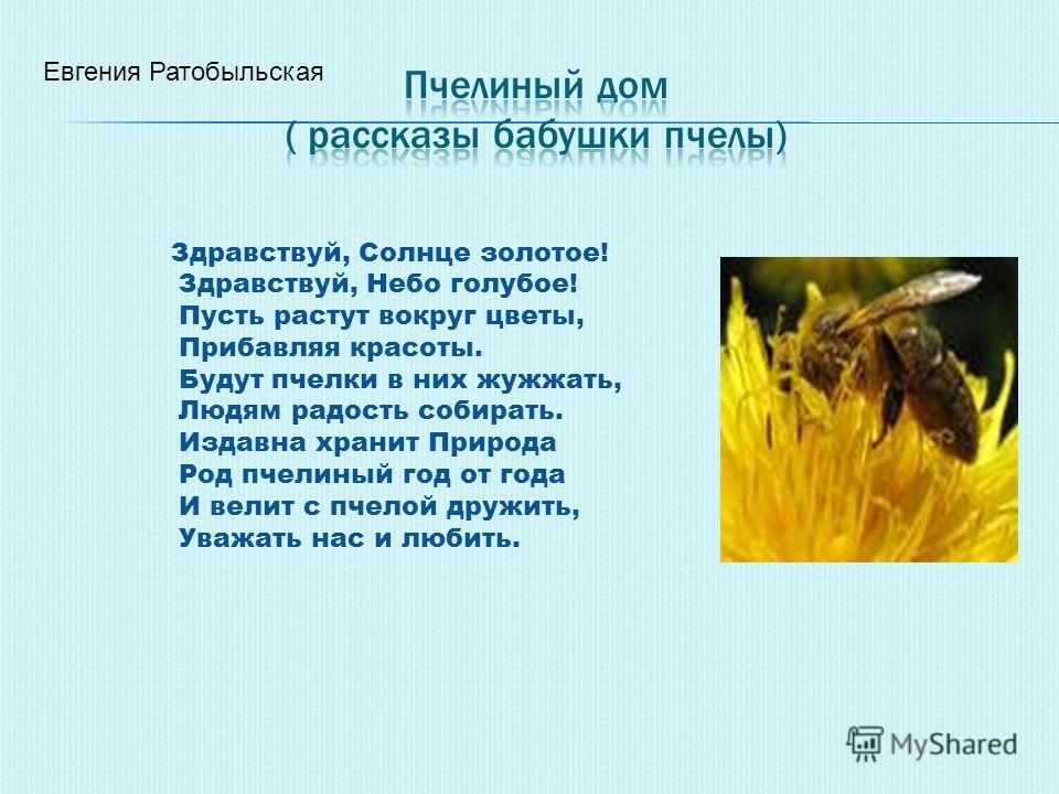 Евгения Ратобыльская Здравствуй, Солнце золотое! Здравствуй, Небо голубое! Пусть растут вокруг цветы, Прибавляя красоты. Будут пчелки в них жужжать, Людям радость собирать. Издавна хранит Природа Род пчелиный год от года И велит с пчелой дружить, Ува