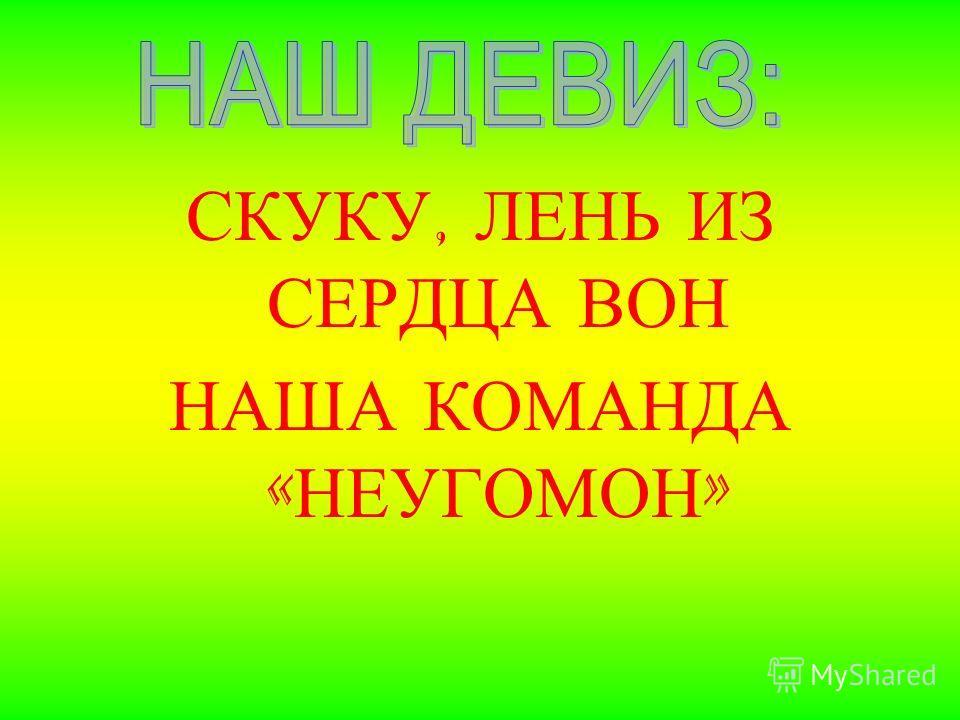 СКУКУ, ЛЕНЬ ИЗ СЕРДЦА ВОН НАША КОМАНДА « НЕУГОМОН »