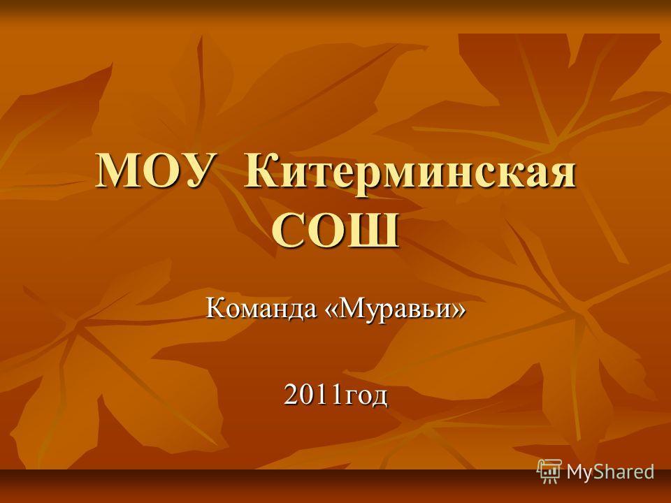 МОУ Китерминская СОШ Команда «Муравьи» 2011год