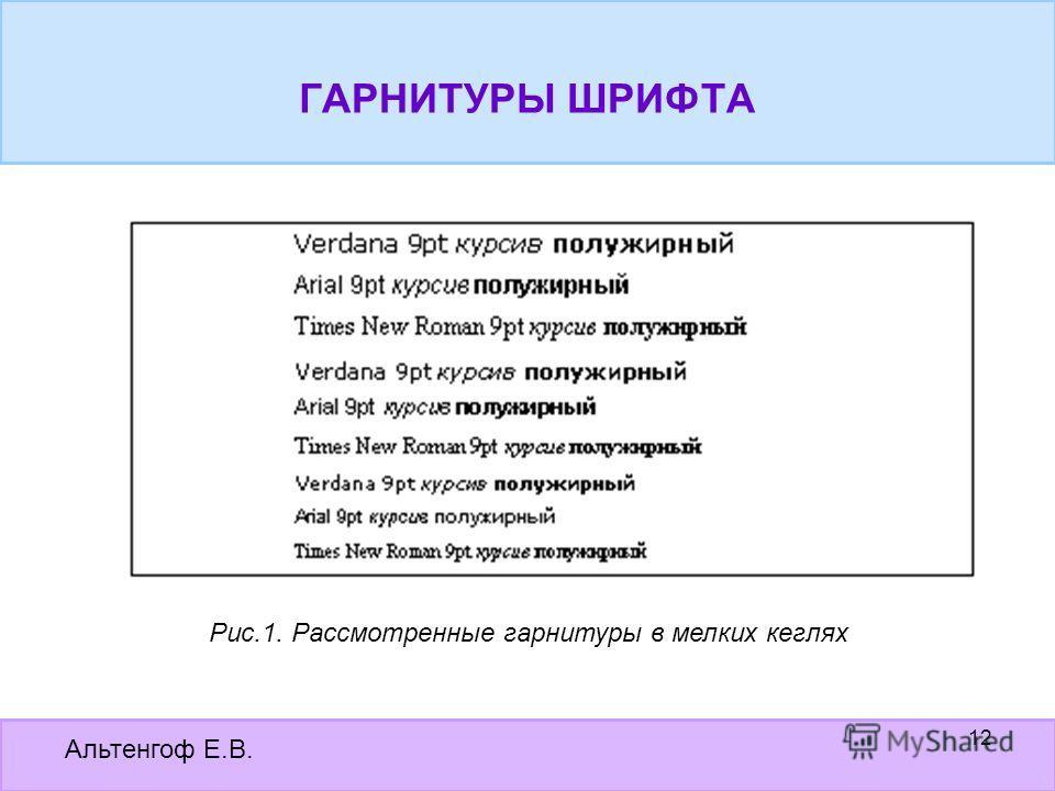 Альтенгоф Е.В. 12 Рис.1. Рассмотренные гарнитуры в мелких кеглях ГАРНИТУРЫ ШРИФТА