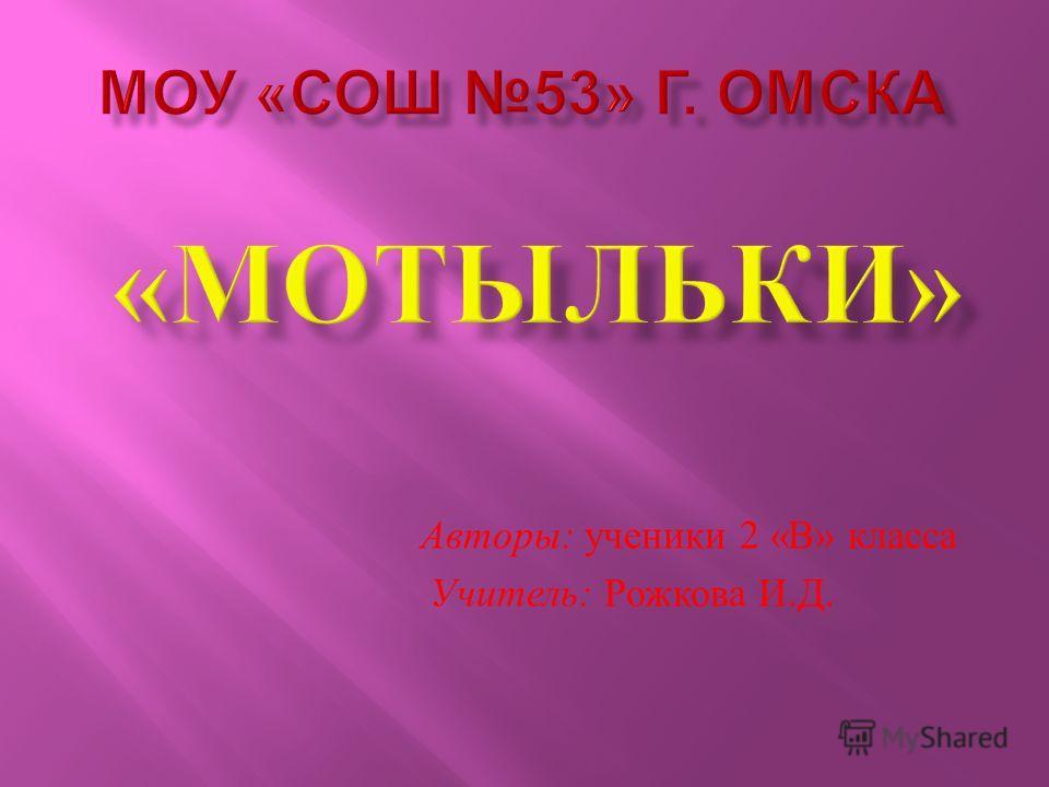 Авторы : ученики 2 « В » класса Учитель : Рожкова И. Д.