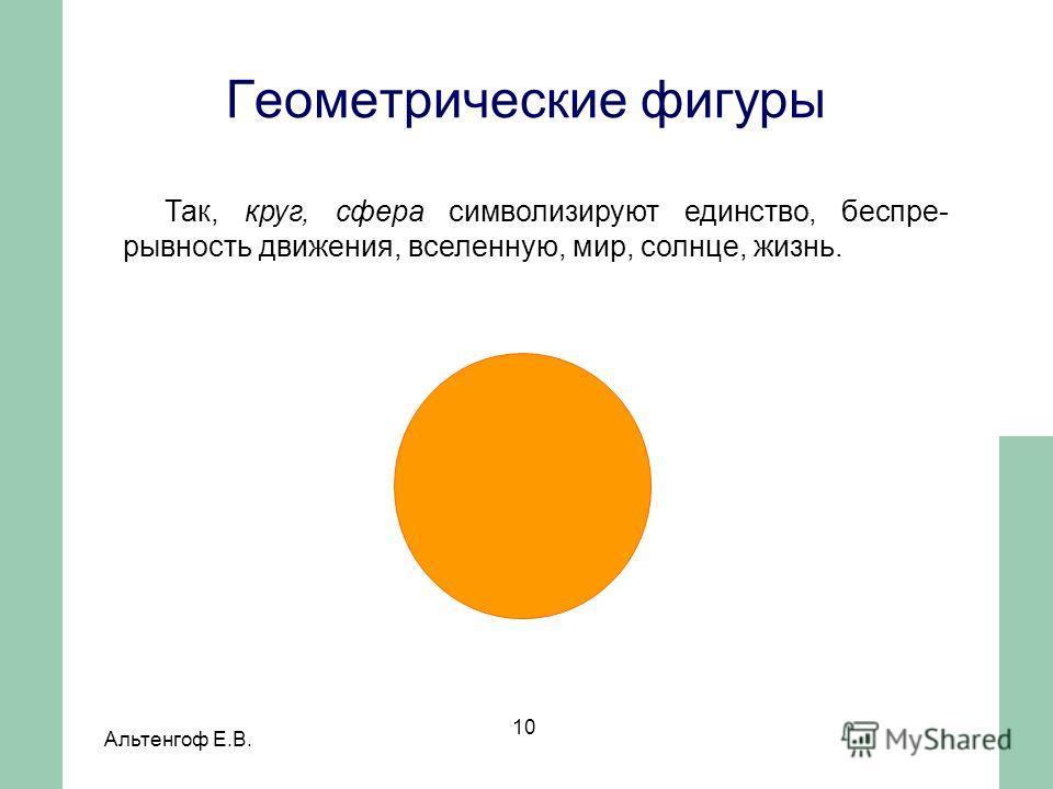 Альтенгоф Е.В. 10 Так, круг, сфера символизируют единство, беспре- рывность движения, вселенную, мир, солнце, жизнь. Геометрические фигуры