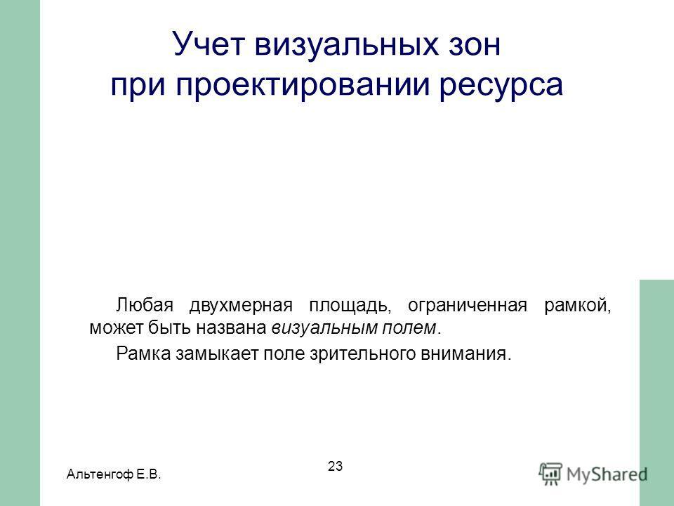 Альтенгоф Е.В. 23 Любая двухмерная площадь, ограниченная рамкой, может быть названа визуальным полем. Рамка замыкает поле зрительного внимания. Учет визуальных зон при проектировании ресурса